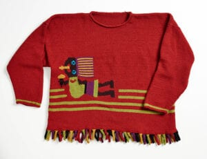 Peruvian Dancer Intarsia Sweater pattern (in four sizes) is included in the lass materials.